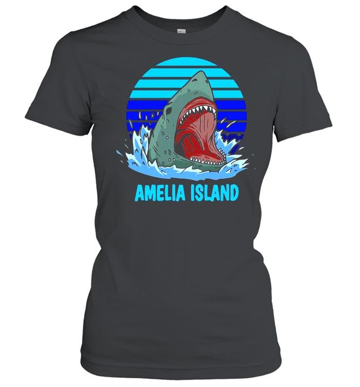 Amelia Island Vacation Shark Theme Vintage T-shirt Classic Women's T-shirt
