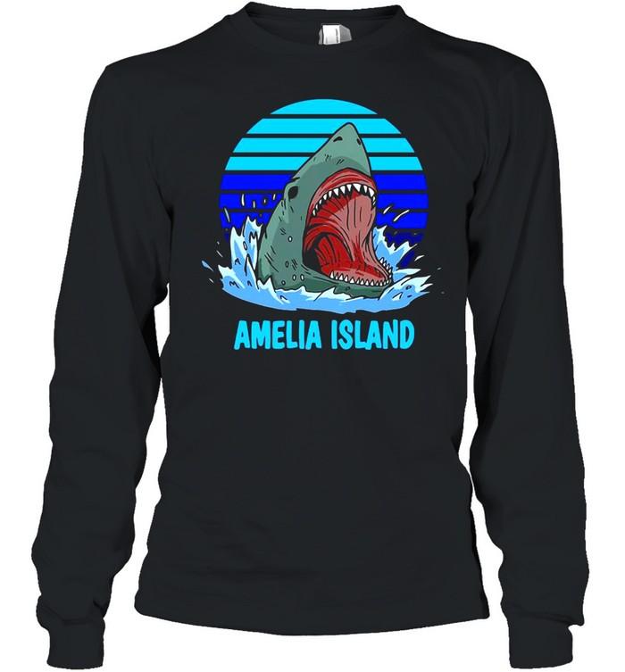 Amelia Island Vacation Shark Theme Vintage T-shirt Long Sleeved T-shirt