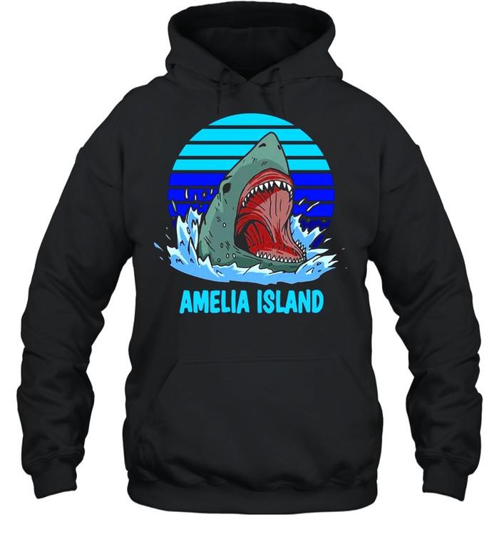 Amelia Island Vacation Shark Theme Vintage T-shirt Unisex Hoodie