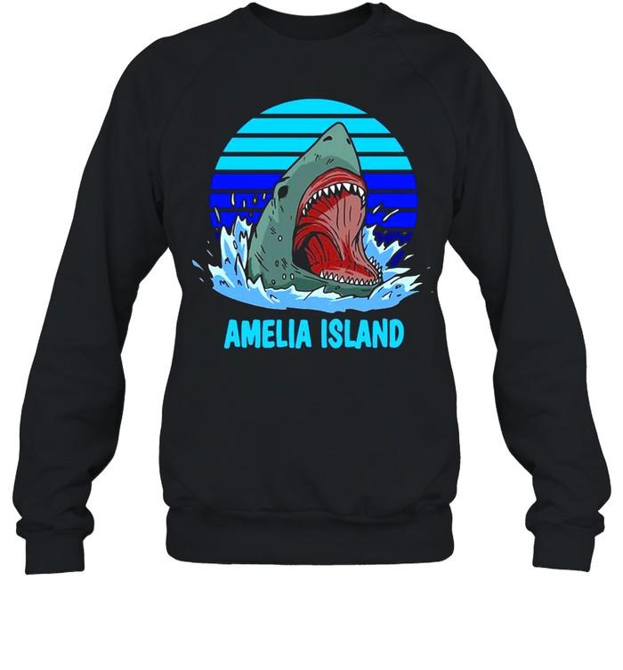 Amelia Island Vacation Shark Theme Vintage T-shirt Unisex Sweatshirt