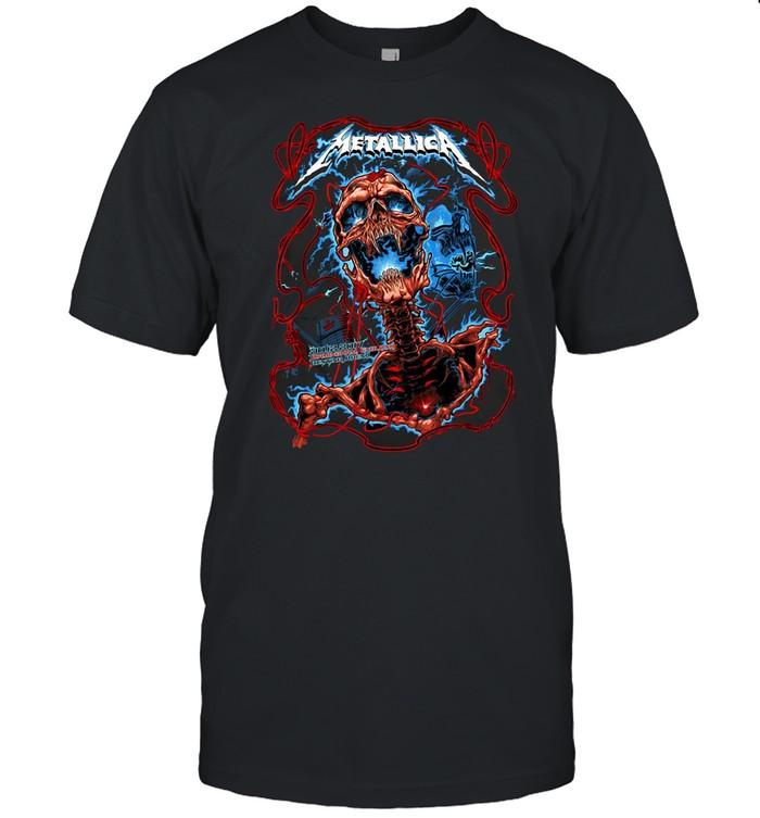 Love Metallica's Cool Skull Lightning Blue T-shirt Classic Men's T-shirt