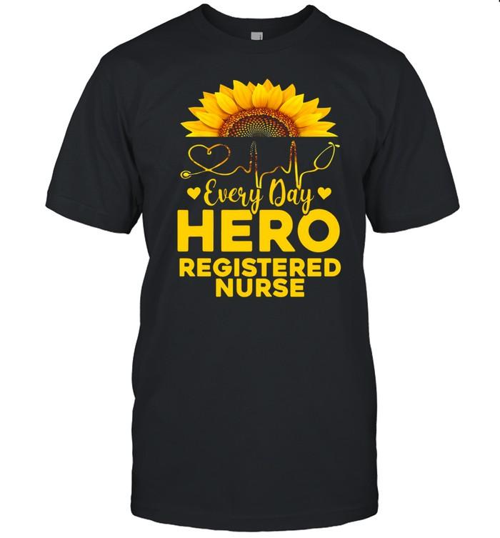 Sunflower Nurse Everyday Hero Registered Nurse Gold T-shirt Classic Men's T-shirt