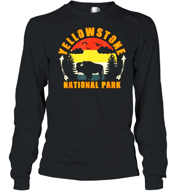 Yellowstone National Park US Bison Buffalo Vintage T- Long Sleeved T-shirt