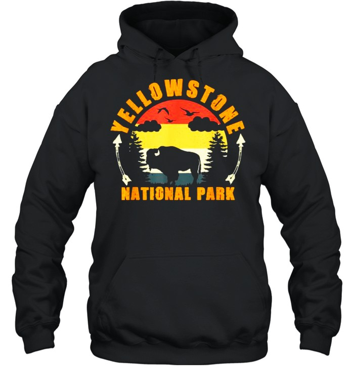 Yellowstone National Park US Bison Buffalo Vintage T- Unisex Hoodie