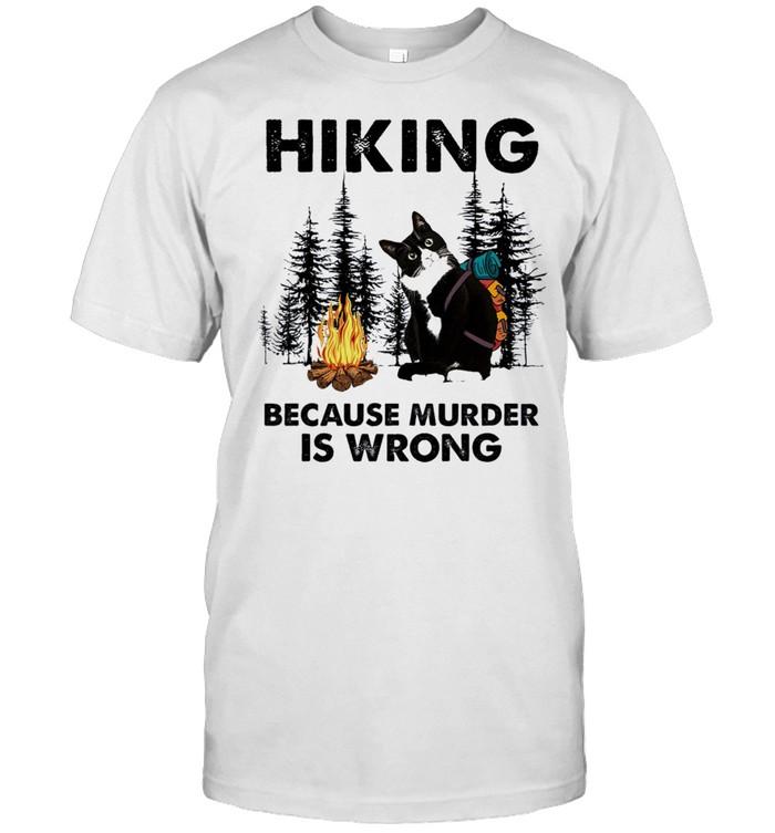 Black Cat hiking because murder is wrong shirt Classic Men's T-shirt