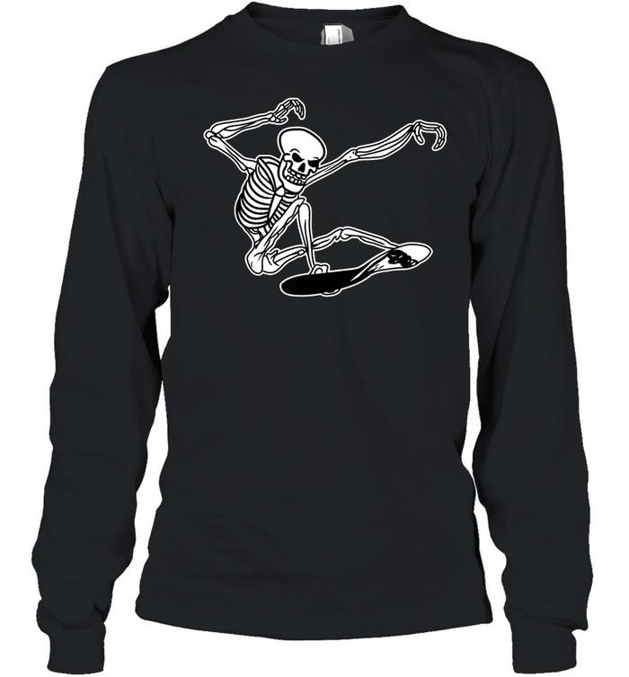 Skeleton Skateboarding Skater Halloween Bones shirt Long Sleeved T-shirt