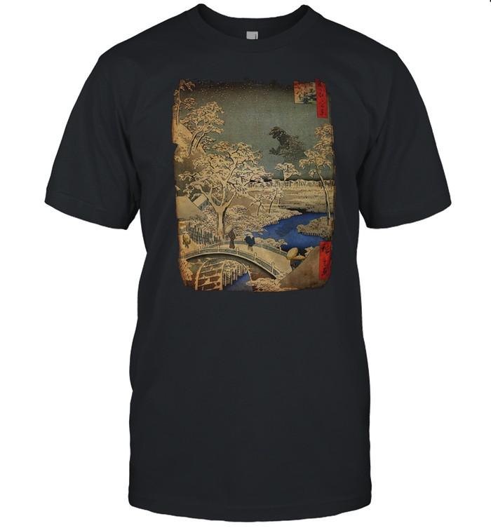 Godzilla and Meguro Drum Bridge shirt Classic Men's T-shirt