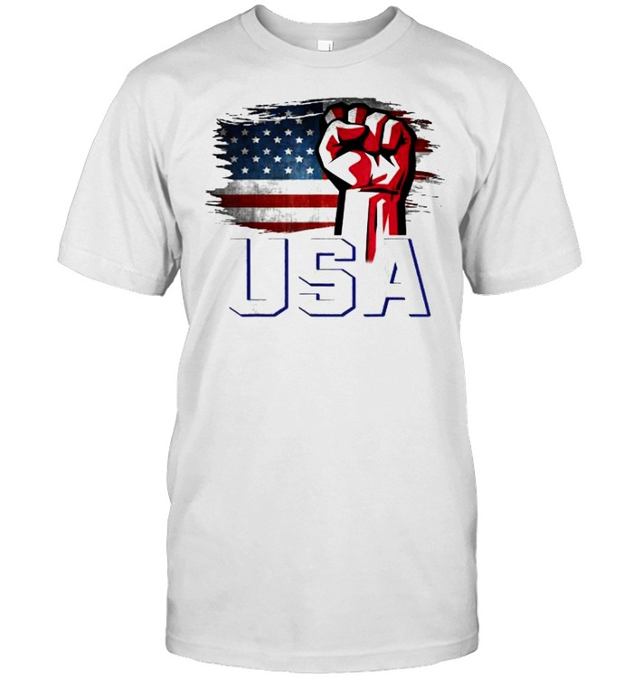 American Patriotic USA Flag With Fist Hand T- Classic Men's T-shirt