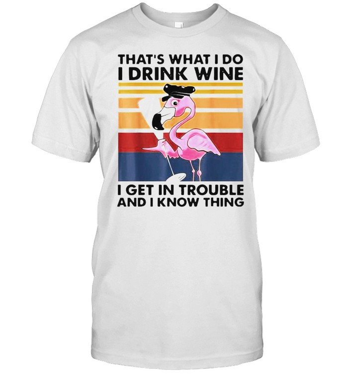 Flamingo that's what I do I drink wine I get in trouble shirt Classic Men's T-shirt