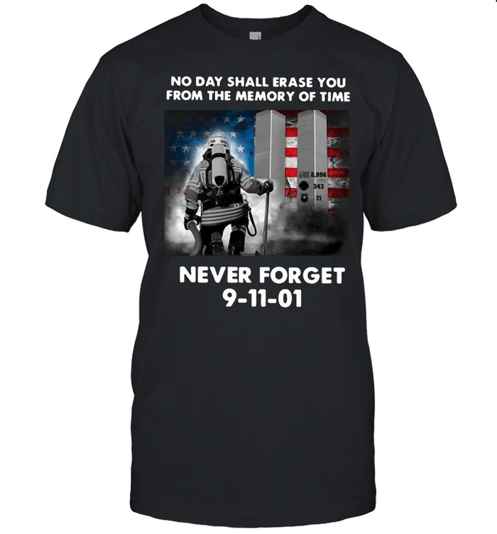 American Flag Diver No Day Shall Erase You From The Memory Of Time Never Forget 9-11-01 T-shirt Classic Men's T-shirt