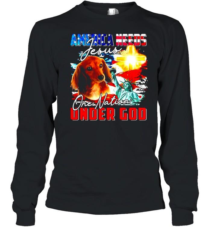 America Needs Jesus One Nation Under God T-shirt Long Sleeved T-shirt