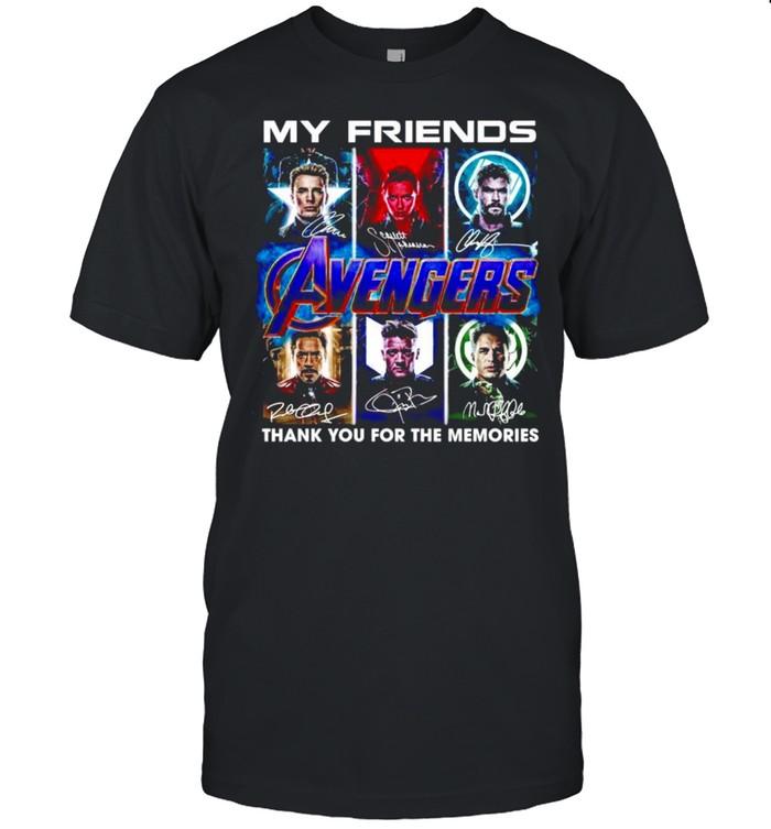 My Friends Captain America Black Widow Thor Iron Man Hulk signature shirt Classic Men's T-shirt