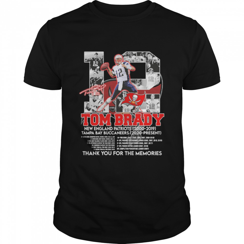12 tom brady new england patriots 2000 2019 tampa bay buccaneers 2020 present thank you for the memories 2022 shirt Classic Men's T-shirt