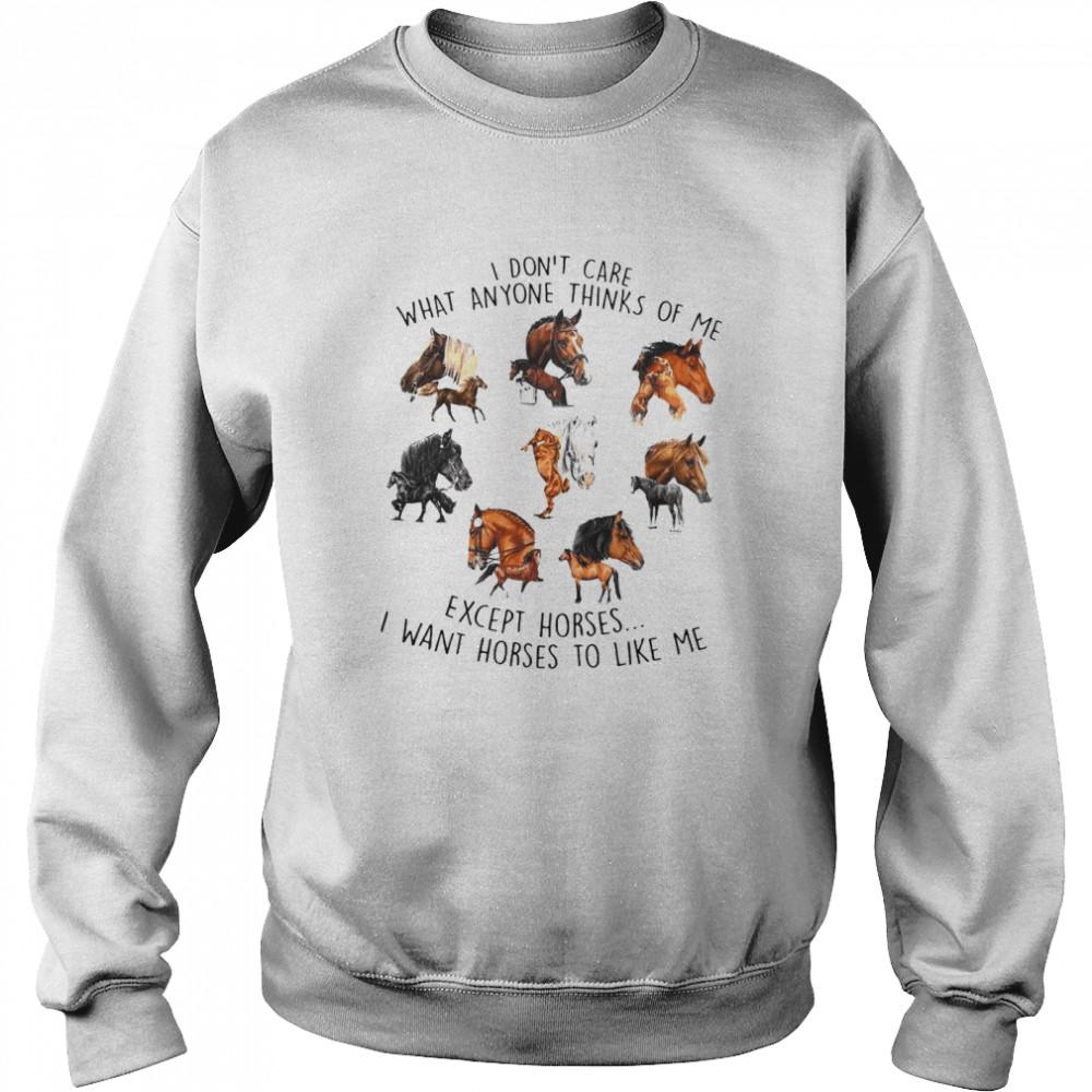 I Don't Care What Anyone Thinks Of Me Except Horses I Want Horses To Like Me T-shirt Unisex Sweatshirt