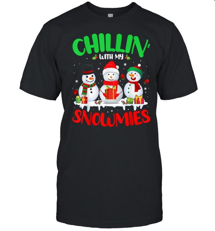 Chillin' With My Snowmies Merry Christmas Santa Snowman shirt Classic Men's T-shirt