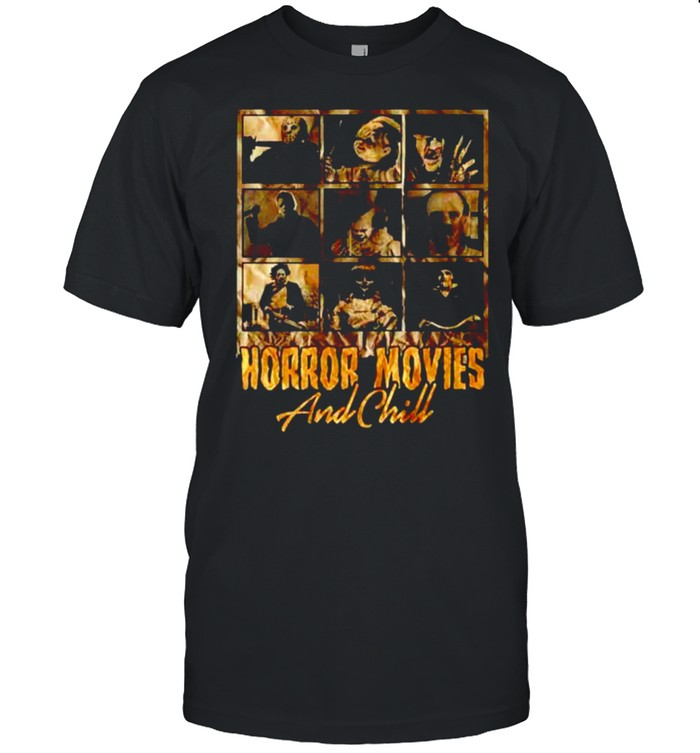 Horror Movies And Chill Horror Characters Funny Halloween T- Classic Men's T-shirt