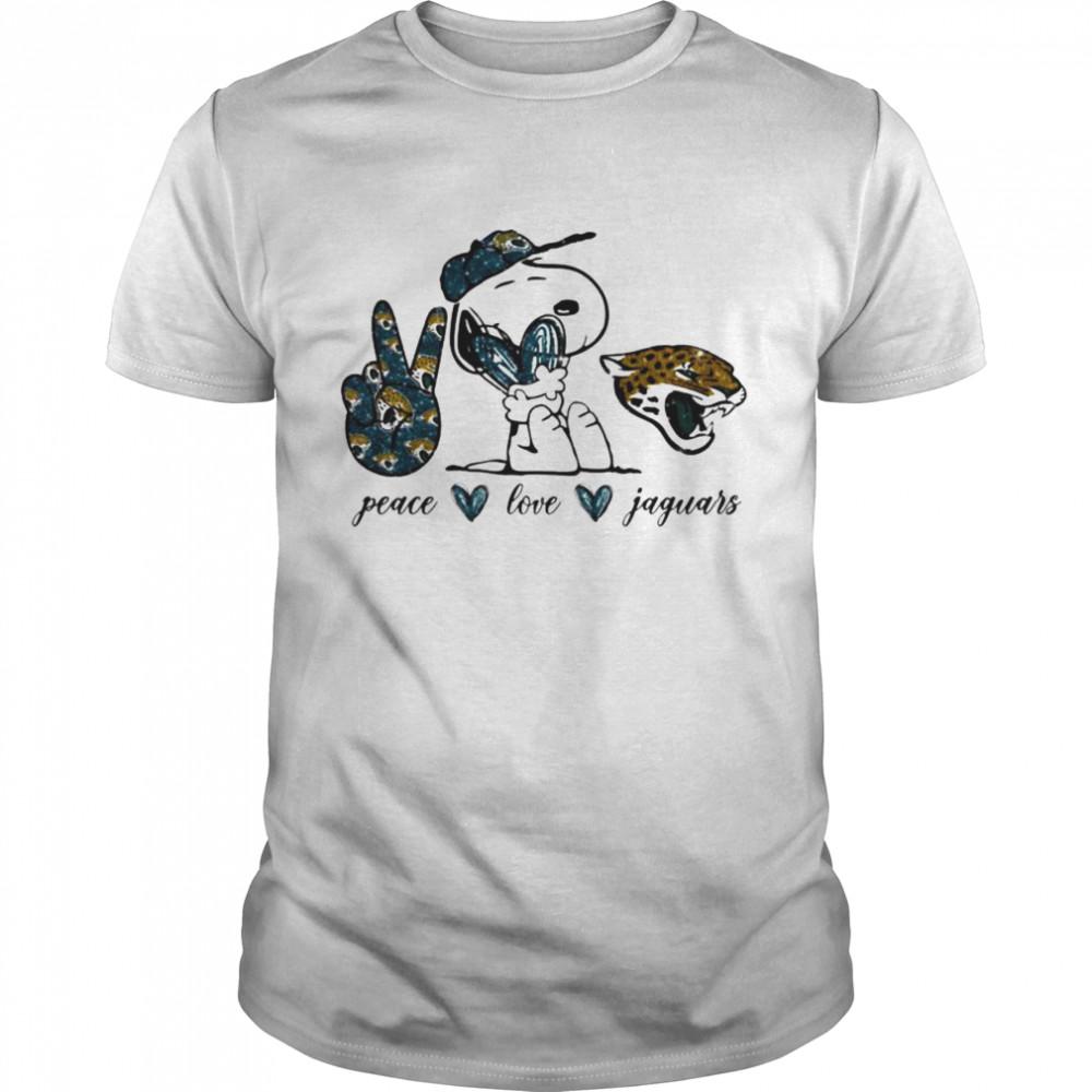 Snoopy peace love Jacksonville Jaguars shirt