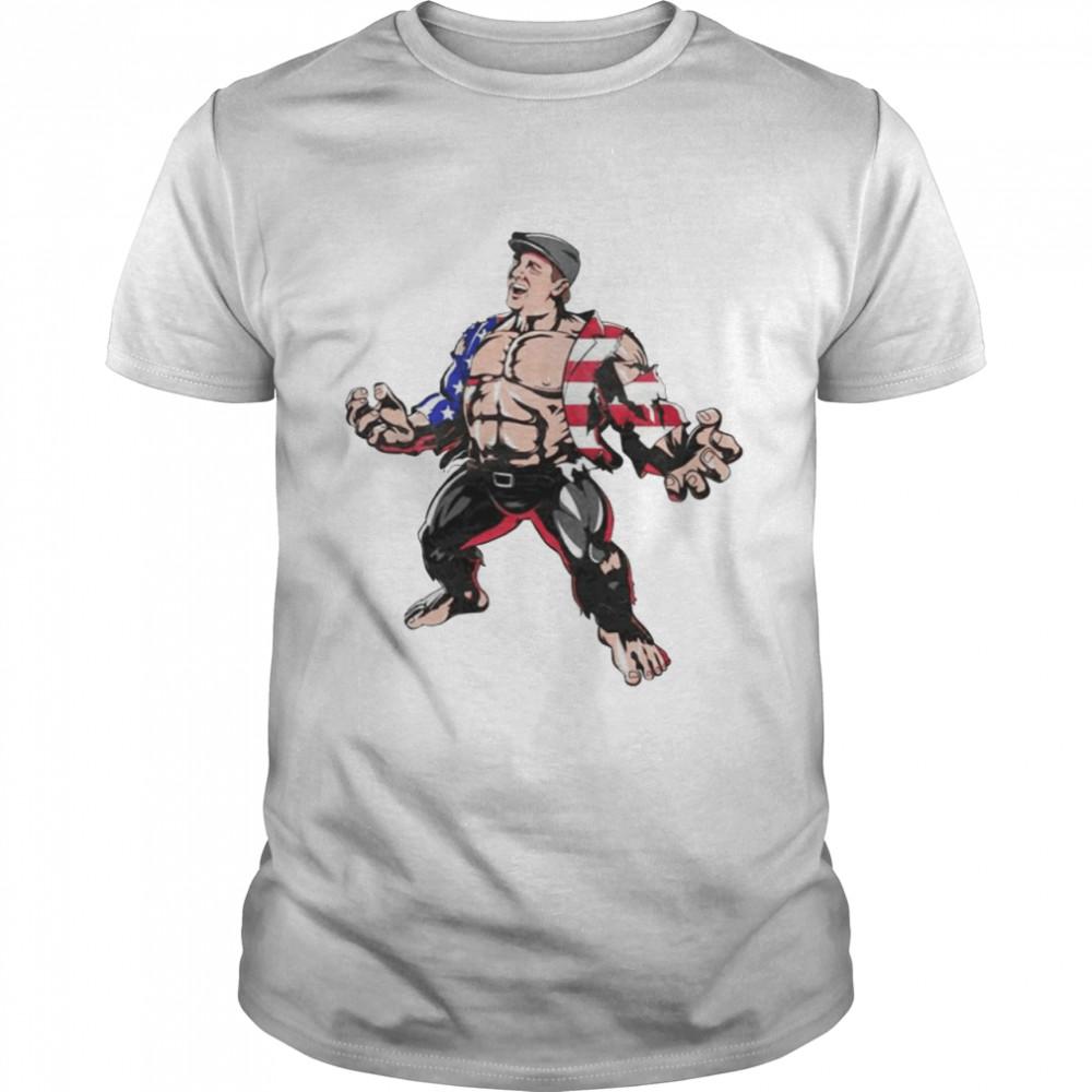 Hulk Marvel superhero American flag shirt