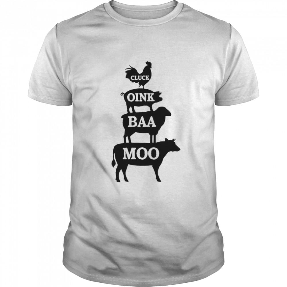 Premium animal farm cluck oink baa moo shirt