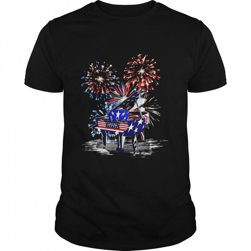 American Flag Piano Firework  Classic Men's T-shirt