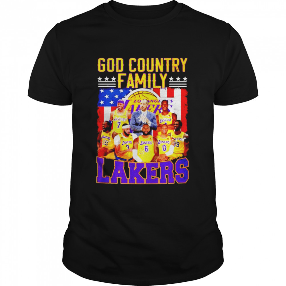 God Country family Los Angeles Lakers signatures American flag shirt Classic Men's T-shirt