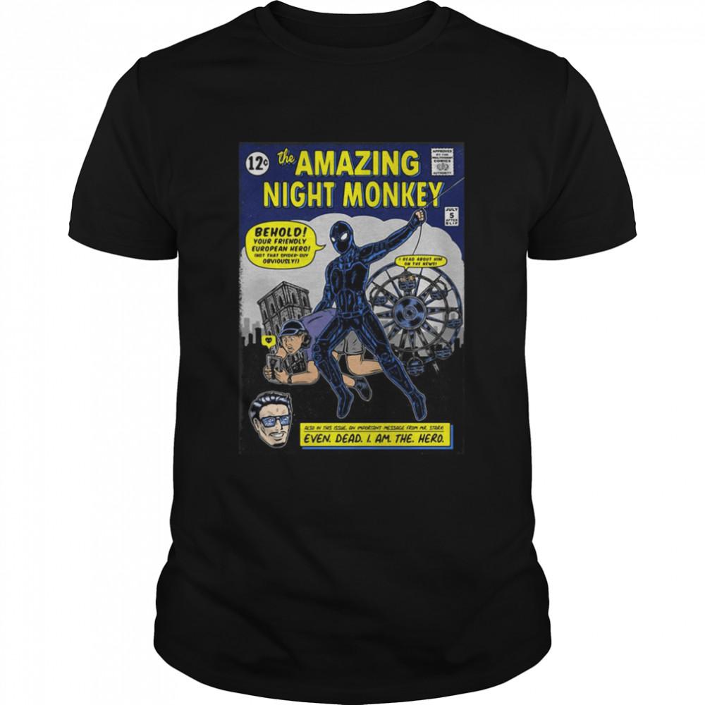 The Amazing Night Monkey Superhero Spiderman Comics  Classic Men's T-shirt