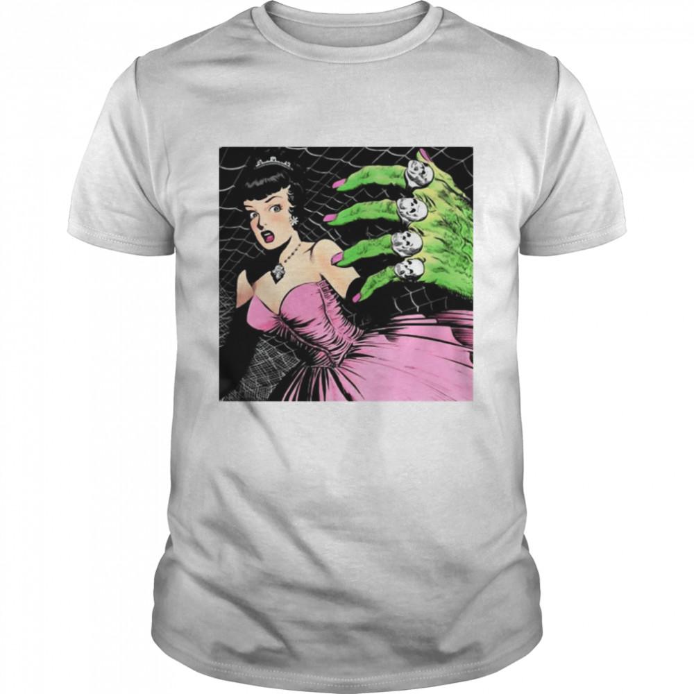 Pink Horror Comic Prom Vintage Retro 1950S Spider Spiderweb Skull T-shirt Classic Men's T-shirt