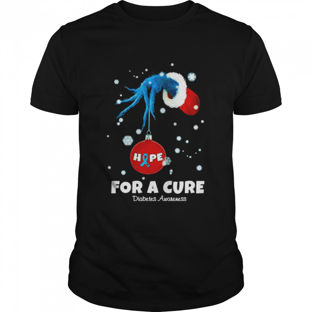 Grinch hand holding ornament Hope for a cure Diabetes Awakeness christmas shirt Classic Men's T-shirt