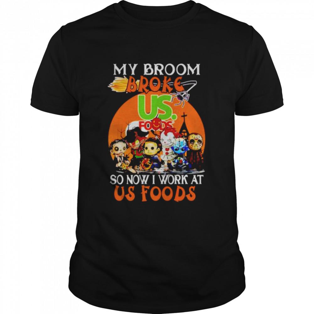 Horror Halloween chibi my broom broke so now I work at Us Foods shirt Classic Men's T-shirt