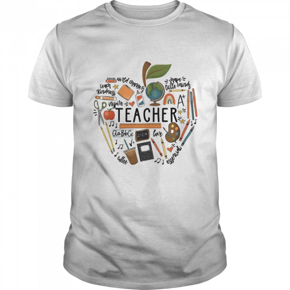 Teacher Teach Kindness Shape Little Minds Love Coffee  Classic Men's T-shirt