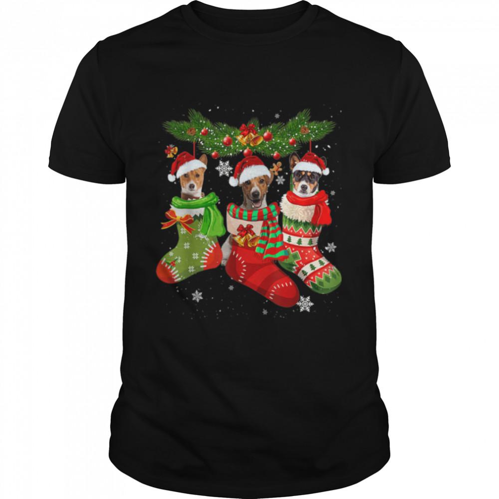 Basenji In Socks Christmas Santa Hat Xmas Lights Gifts T- B09JRX11SV Classic Men's T-shirt