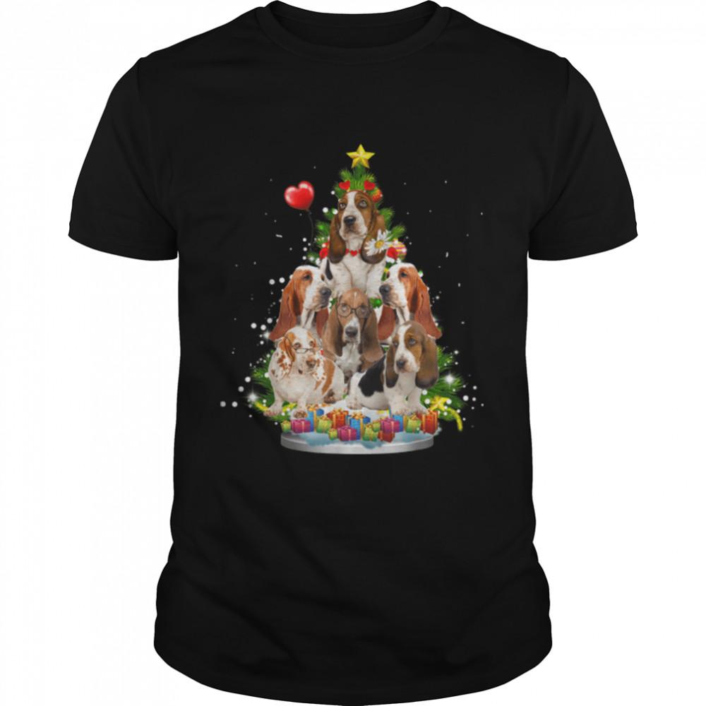 Basset hound Christmas Tree Ornament Santa Hat Xmas Gifts T- B09JW2G2Q1 Classic Men's T-shirt