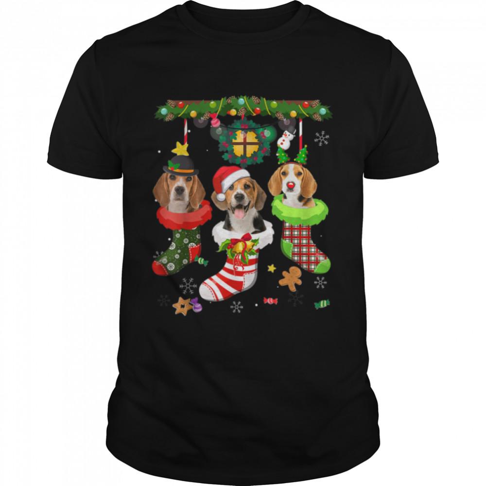 Beagle In Socks Christmas Santa Hat Xmas Lights Dog Lovers T- B09JS3JGNX Classic Men's T-shirt
