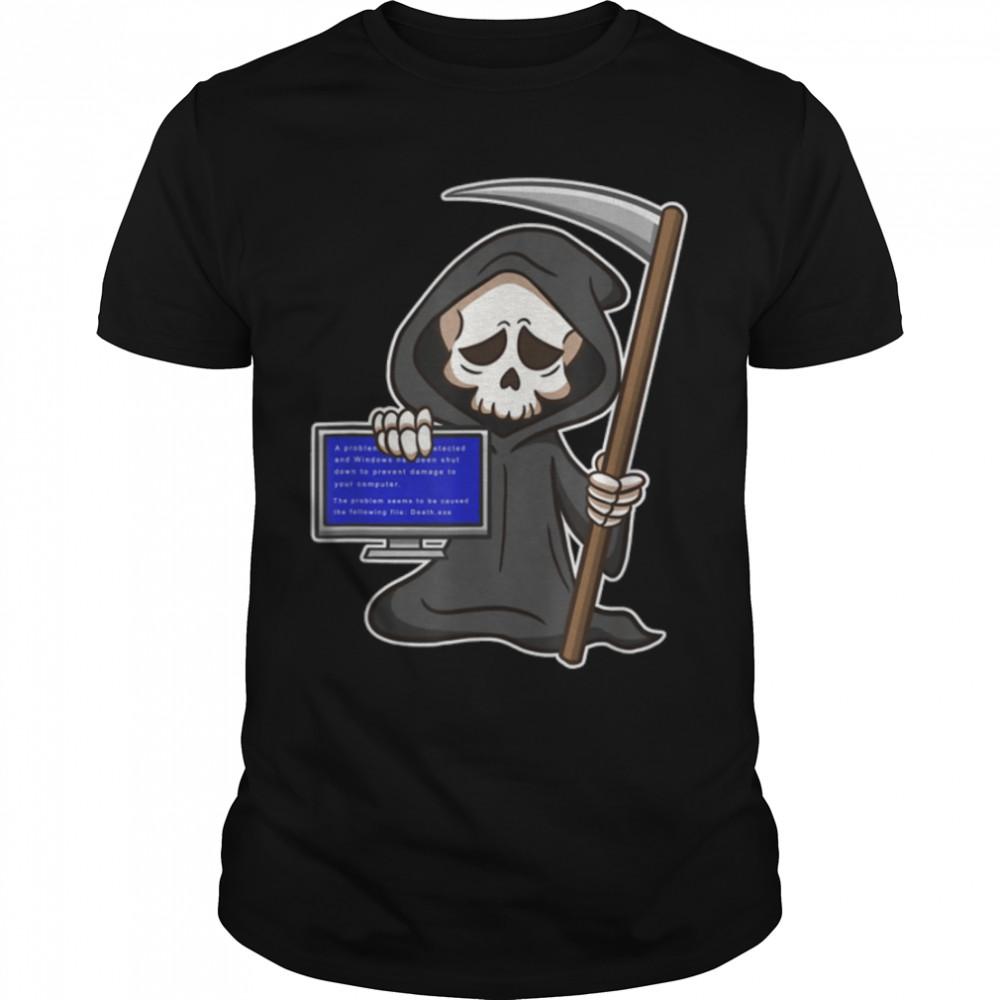 Blue Screen of Death - Funny Reaper - Halloween Horror T- B09JZRC3XF Classic Men's T-shirt