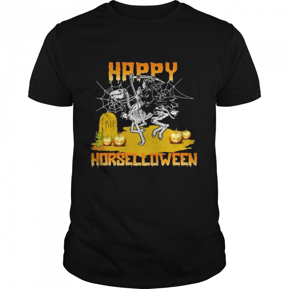 Grim Reaper Riding Dinosaur Skeleton Happy Horselloween Halloween  Classic Men's T-shirt